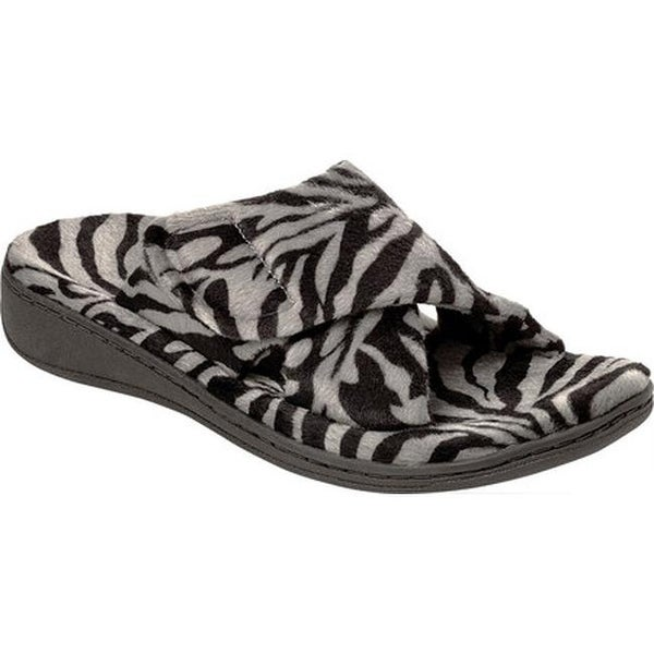 a4be3008ee75d Shop Vionic Women s Relax Slipper Dark Grey Zebra - On Sale - Free ...