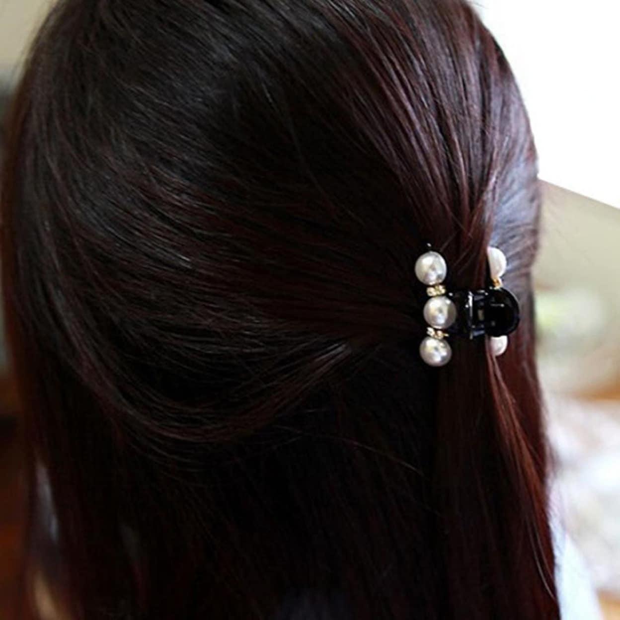 Details about  /Women Pearl Rhinestone Hair Claws Geometric Hair Clips Crab Hairpin Barrettes