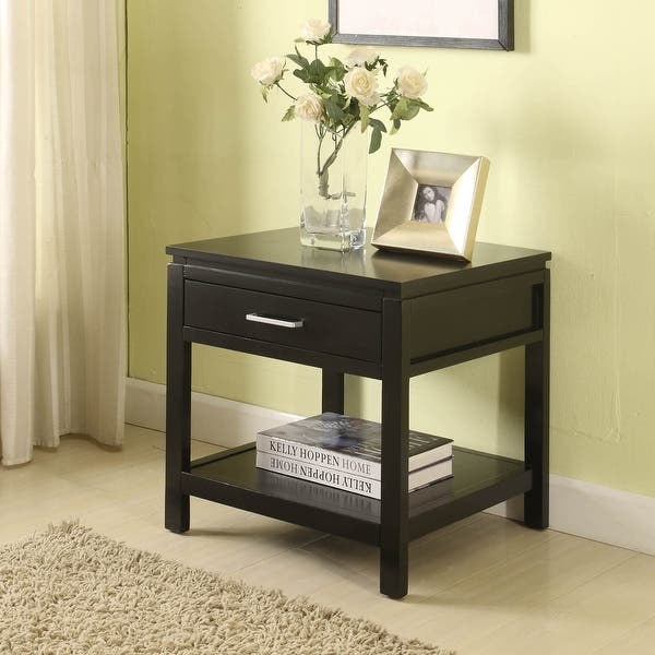 Porch Den Freeman Contemporary Jet Black End Table Overstock 20340008