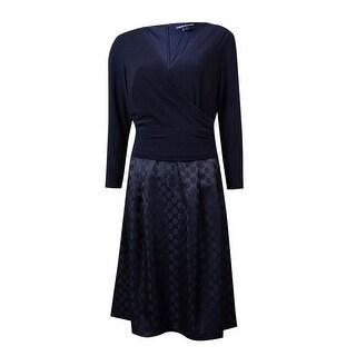 American Living Women's Surplice Polka Dot A-Line Dress - 8