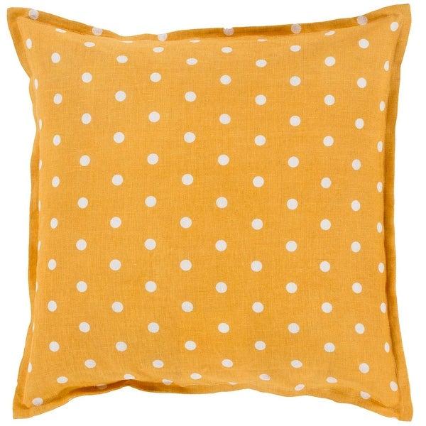 "18"" Orange and White Polka Dots Printed Decorative Square Throw Pillow"