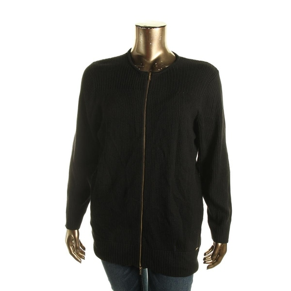 Calvin Klein Womens Full Zip Sweater Knit Long Sleeves
