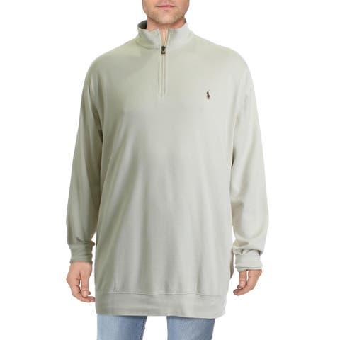 Polo Ralph Lauren Mens Big & Tall Sweater Signature Long Sleeves - Cream - 2LT