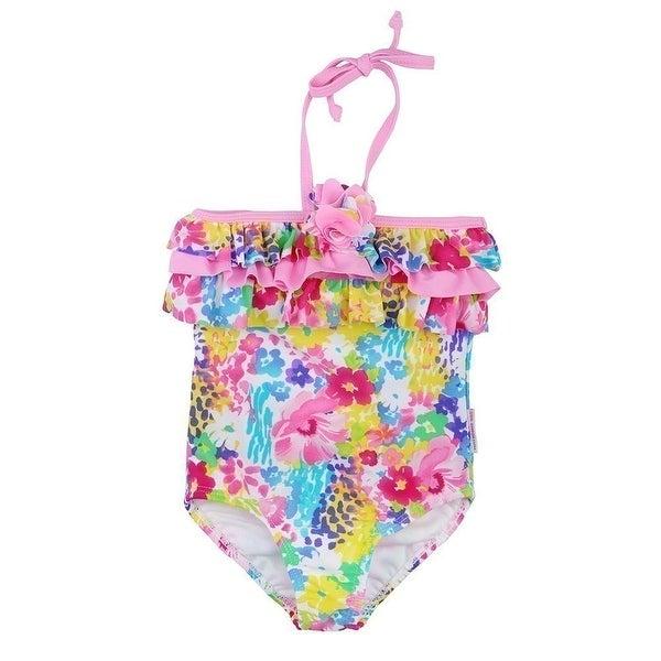 Sun Emporium Baby Girls Pink Monet Floral Halter One Piece Swimsuit