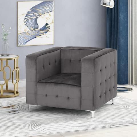 Sanders Modern Glam Velvet Cube Club Chair by Christopher Knight Home