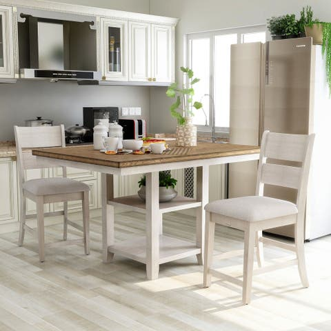 Furniture of America Argus Hill Transitional Antique White 3 Piece Kitchen Island Set