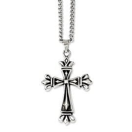 Chisel Stainless Steel Polished & Antiqued Cross 24in Necklace (3 mm) - 24 in
