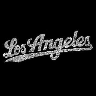 LA Pop Art Girl's Word Art Long Sleeve - LOS ANGELES NEIGHBORHOODS - Red, L