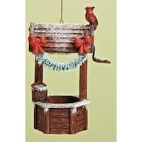 "4"" Magical Wishing Well with Red Cardinal Decorative Christmas Ornament"