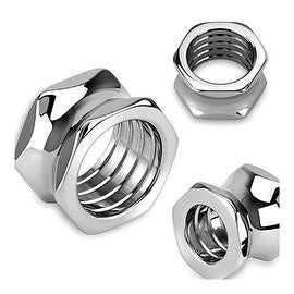 Hexagon Screw Bolt Hollow Saddle Plug 316L Surgical Steel (Sold Individually)
