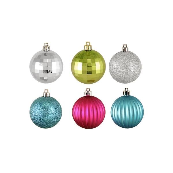 "100ct Jewel Tone 3-Finish Shatterproof Christmas Ball Ornaments 2.5"" (60mm)"