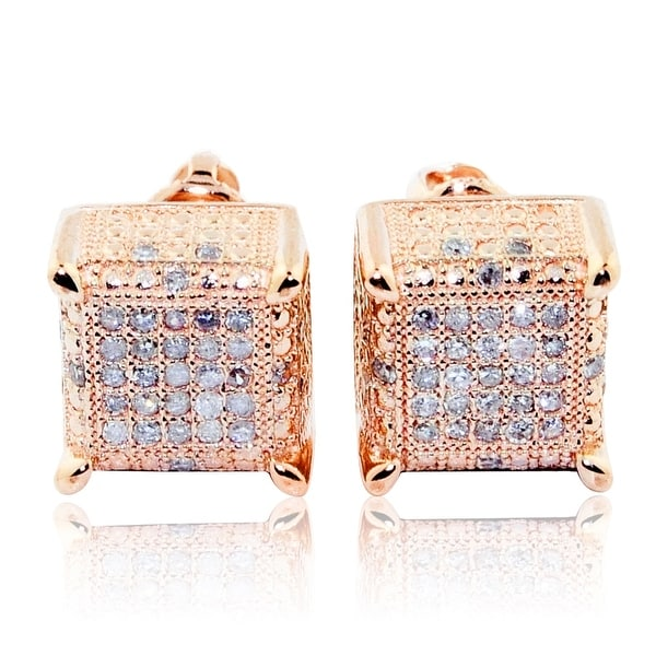 f768b5a3599db Shop 0.3cttw Diamond Earrings Cubes 10K Rose Gold Square 9mm Wide ...