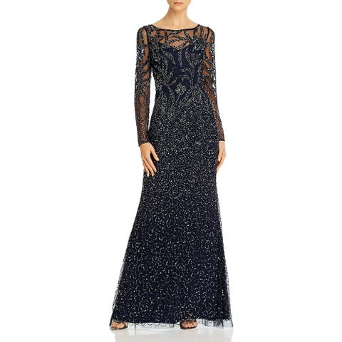 Adrianna Papell Womens Formal Dress Sequined Illusion - Midnight