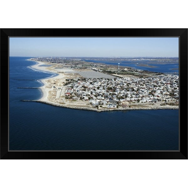 """Aerial view of Long Island, New York"" Black Framed Print"