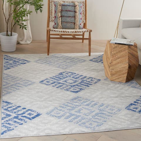 Nourison Whimsicle Bohemian Oversized Tribal Grey Blue Area Rug