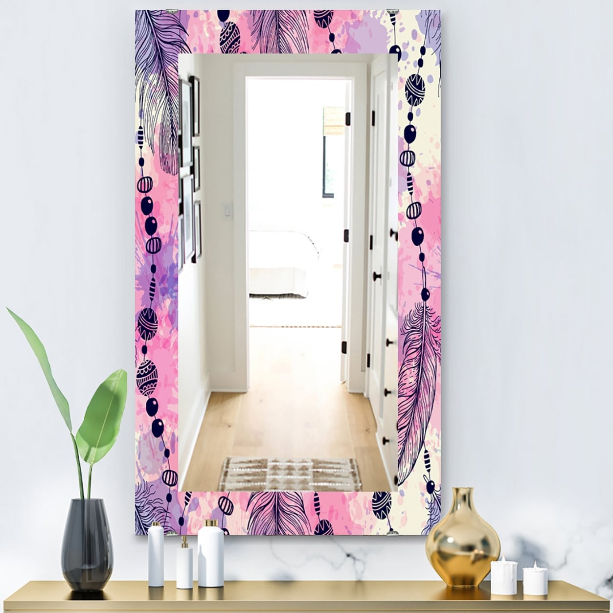 Designart Feathers 30 Bohemian And Eclectic Mirror Frameless Eclectic Bathroom Mirror On Sale Overstock 28003934