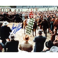 Gary Stevens signed Horse Racing Winners Circle from Seabiscuit Movie 16X20 Photo Steiner Hologram