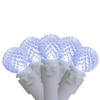 """Set of 50 Pure White LED G12 Berry Christmas Lights 4"""" Bulb Spacing - White Wire"""