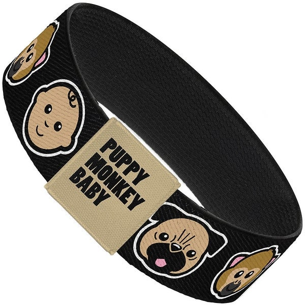 Puppy Monkey Baby Cartoon Faces Black Elastic Bracelet