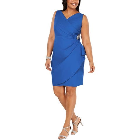Alex Evenings Womens Plus Cocktail Dress Embellished Ruched - Royal
