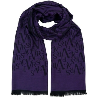 Versace VHB0217 003 Signature Pattern Purple 100% Wool Mens' Scarf