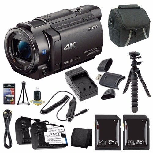 Sony FDR-AX33 4K Ultra HD Handycam Camcorder + NP-FV70 Battery + External Charger + Mini HDMI Cable + Card Wallet Saver Bundle