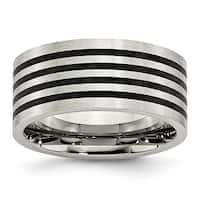 Chisel Stainless Steel Brushed Black Rubber 10mm Ring