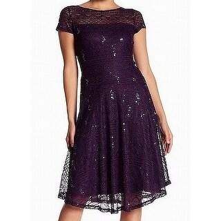 Sangria Purple Womens Size 6P Petite Lace Fit & Flare Sheath Dress