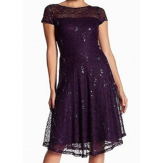 Sangria Purple Womens Size 6P Petite Lace Fit & Flare Sheath Dress