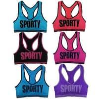 "Women 6 Pack Seamless ""SPORT"" Racerback Athletic Yoga Sports Bras"