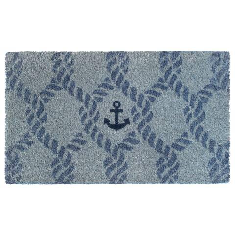"RugSmith Gray Machine Tufted Marine Anchor Doormat, 18""x30"""