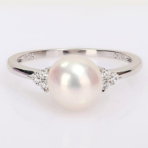 Miadora Sterling Silver Cultured Freshwater Pearl and Cubic Zirconia Ring (7.5-8mm)