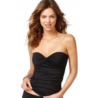 Calvin Klein Womens Bandeau Tankini Top Black Solid Medium M