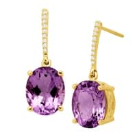 4 5/8 ct Natural Amethyst Drop Earrings with Diamonds in 14K Gold - Purple