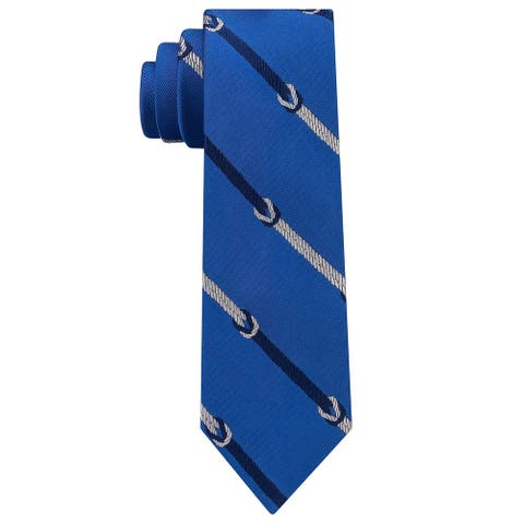 Tommy Hilfiger Men's Square Knot Stripe Slim Silk Tie Blue Necktie
