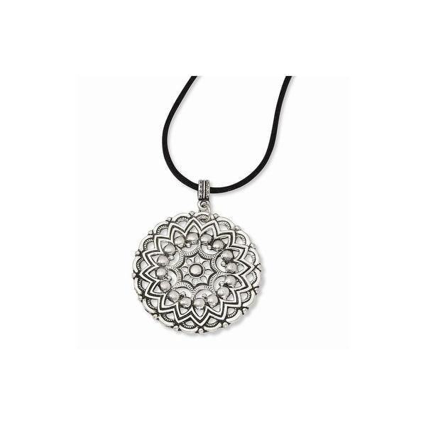 Silvertone Sunburst Pendant Necklace - 16in