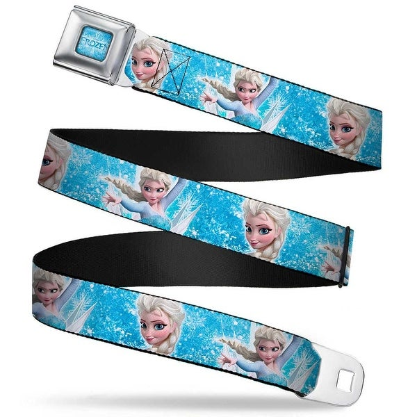 Frozen Logo Full Color Blues Frozen Elsa Face Action Pose Snowflakes Blues Seatbelt Belt