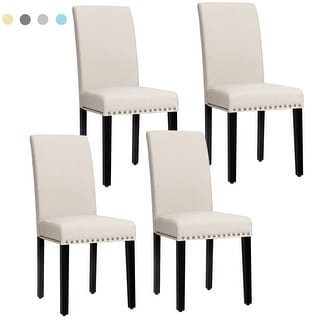 Link to Costway Set of 4 Fabric Dining Chairs w/Nailhead Trim - See Description Similar Items in Dining Room & Bar Furniture