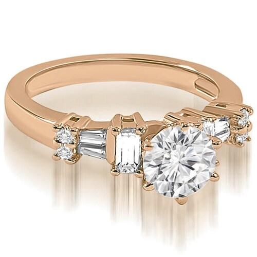 1.50 cttw. 14K Rose Gold Round Princess Baguette cut Diamond Engagement Ring