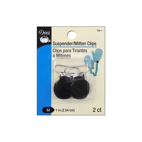 Dritz Suspender/Mitten Clip Black 2pc