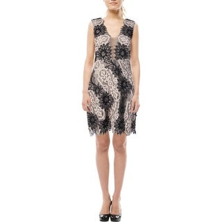 BCBG Max Azria Womens Lynne Lace Mesh Inset Cocktail Dress