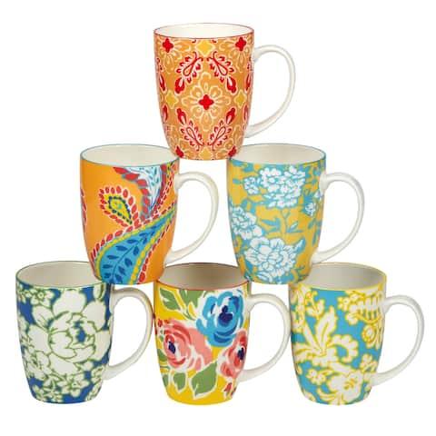 Certified International Damask Floral Assorted Designs 14 oz. Mugs, Set of 6