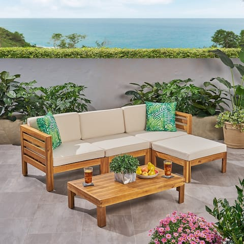 Cambridge Outdoor Wood 5-piece Sofa Set by Christopher Knight Home