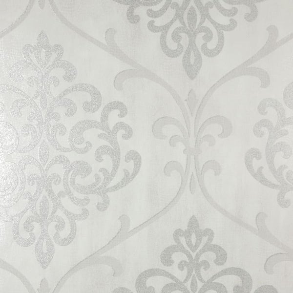 Brewster 2542-20717 Ambrosia Silver Glitter Damask Wallpaper - N/A