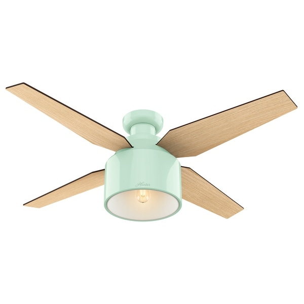 """Hunter 52"""" Cranbrook Low Profile Ceiling Fan with LED Light Kit and Handheld Remote - Mint Green"""