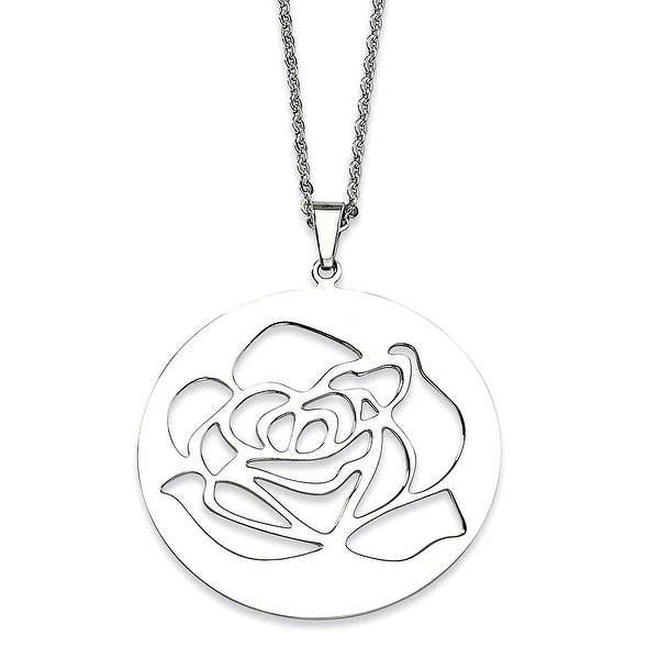 Chisel Stainless Steel Rose Cutout Pendant 22 Inch Necklace (2 mm) - 22 in