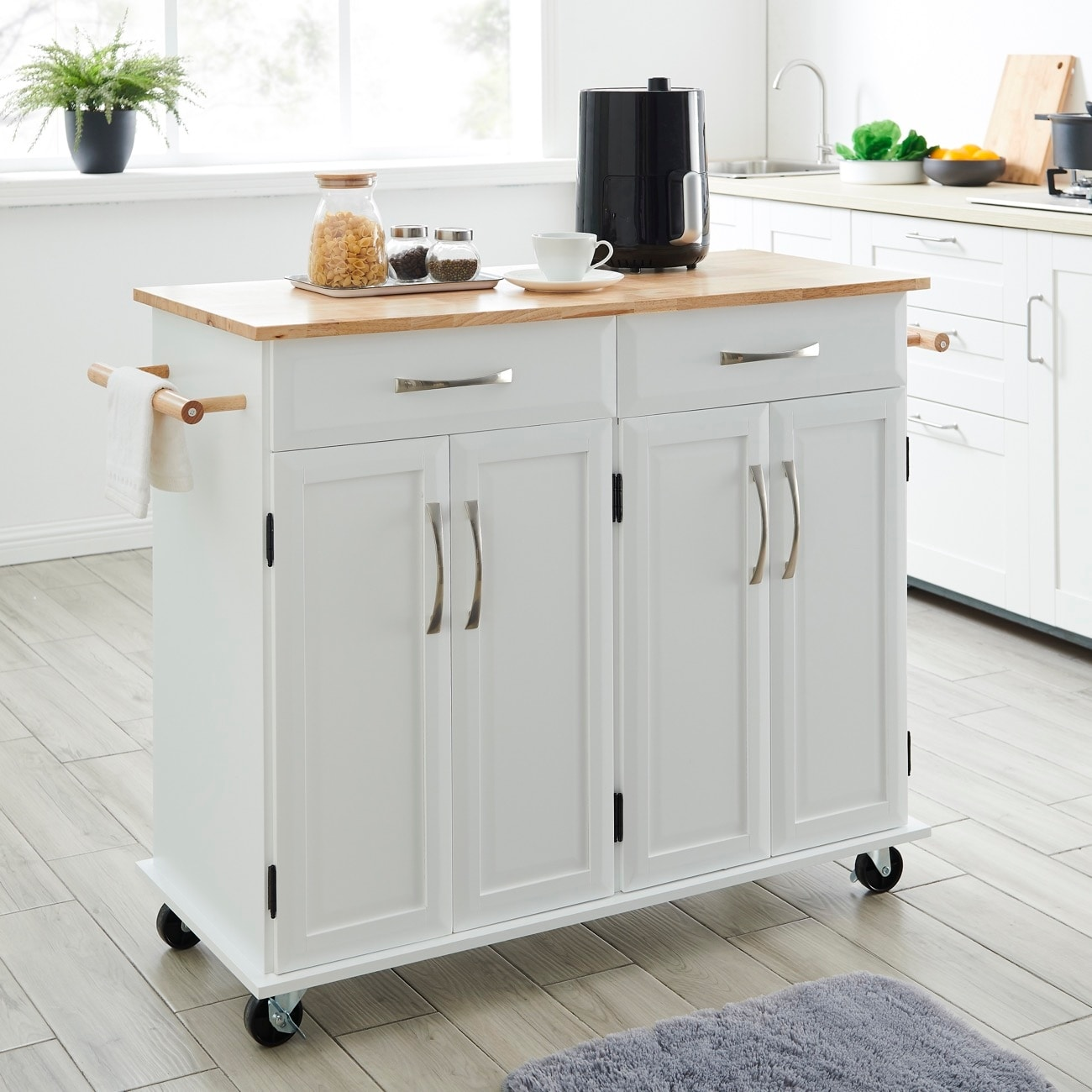Image of: Shop Black Friday Deals On Belleze White Wood Portable Kitchen Cart Rolling And Island Storage With Handle Standard Overstock 26880760