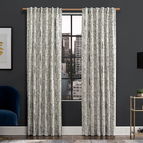 Scott Living Aubry Shimmering Floral Total Blackout Back Tab Curtain Panel, Single Panel