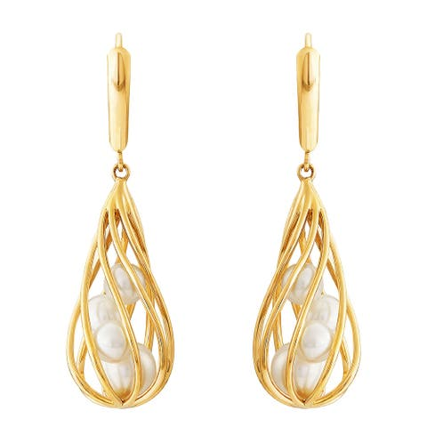 Honora 4.5-6.5 mm Freshwater Pearl Spiral Cage Earrings in 14K Gold