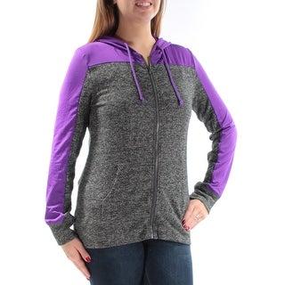 Womens Gray Purple Active Wear Zip Up Jacket Size L